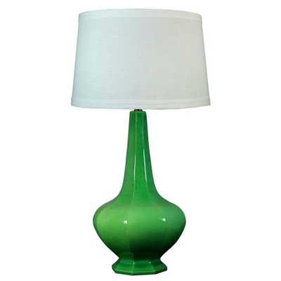 Fangio Lighting 30 in. Jewel Green Crackle Ceramic Table Lamp - Home Depot