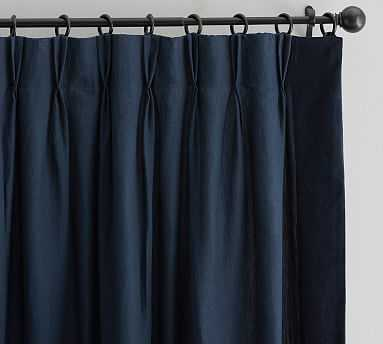 "Monique Lhuillier Miranda Velvet Trim Drape, 50 x 108"", Navy - Pottery Barn"