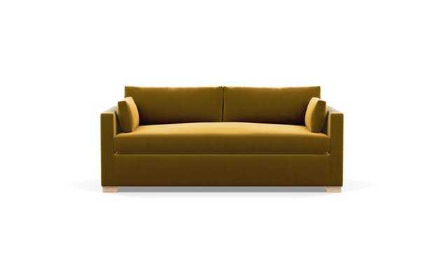 Charly Sleeper Sleeper Sofa with Yellow Citrine Fabric and Natural Oak legs - Interior Define