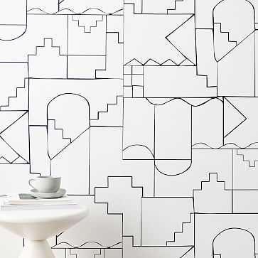 Labyrinth Wallpaper, WHITE - West Elm