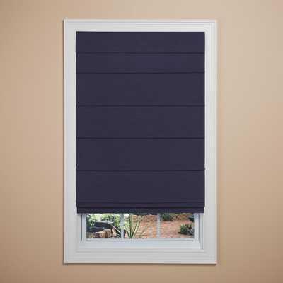 Elegant Home Fashions Navy (Blue) Room Darkening Cordless Fabric Roman Shade - 35 in. W x 64 in. L - Home Depot