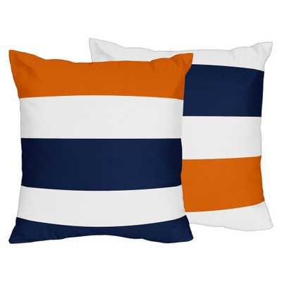 Navy & Orange Stripe Throw Pillow - Sweet Jojo Designs - Target