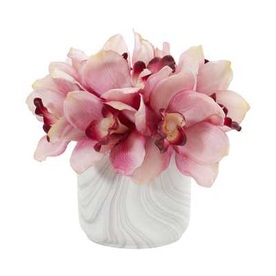 Fiddle + Bloom Indoor Cymbidium Orchid Artificial Arrangement in Marble Vase - Fiddle + Bloom