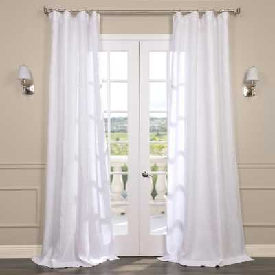 Exclusive Fabrics & Furnishings Purity White Linen Sheer Curtain - 50 in. W x 108 in. L - Home Depot