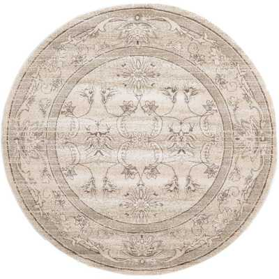 La Jolla Ivory and Beige 6 ft. x 6 ft. Round Area Rug, Ivory And Light Brown - Home Depot