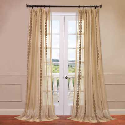 Exclusive Fabrics & Furnishings Cleopatra Embroidered Sheer Curtain in Gold - 50 in. W x 84 in. L - Home Depot