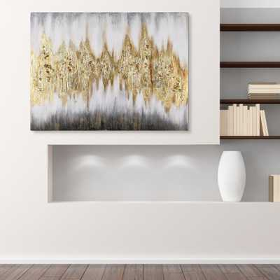"""Gold Frequency""Textured Metallic Hand Painted by Martin Edwards Abstract Canvas Wall Art - Home Depot"