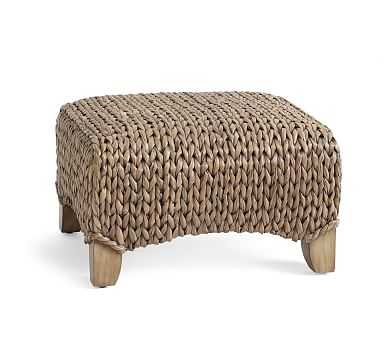 Seagrass Wingback Ottoman, Gray Wash - Pottery Barn