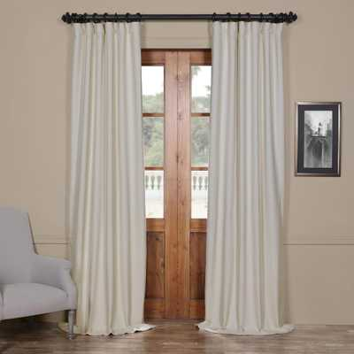 Exclusive Fabrics & Furnishings Semi-Opaque Cottage White Bellino Blackout Curtain - 50 in. W x 120 in. L (Panel) - Home Depot