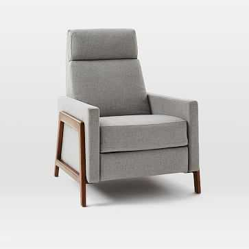 Spencer Wood Framed Recliner, Feather Gray, Heathered Weave, Crosshatch Feather Gray - West Elm
