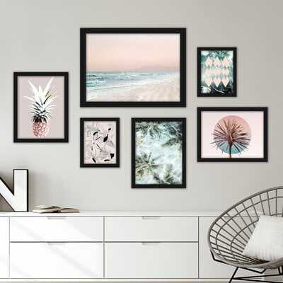 Tropical Beach 6 Piece Framed Graphic Art Print Set - Wayfair
