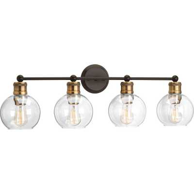 Progress Lighting Hansford Collection 33.5 in. 4-Light Antique Bronze Vanity Light with Clear Globe Shades - Home Depot
