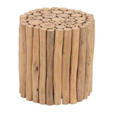 Teak Wood Accent Stool - Wayfair