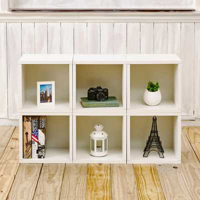 Barcelona 6-Cubes zBoard Stackable Modular Storage Cubby Organizer, Tool-Free Assembly Storage in Pearl White - Home Depot