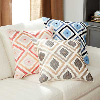 Ballard Designs Jane Embroidered Ikat Pillow Coral Pink - Ballard Designs