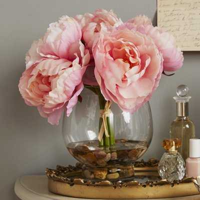 Peonies Floral Arrangement in Glass Vase - Birch Lane
