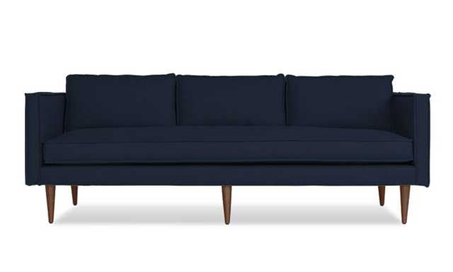 Blue Serena Mid Century Modern Sofa - Bentley Indigo - Mocha - Joybird