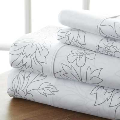 Vine Patterned 4-Piece Gray Queen Performance Bed Sheet Set - Home Depot