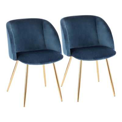 Fran Blue Velvet and Gold Chair (Set of 2), Blue/Gold - Home Depot