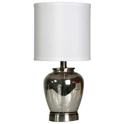 StyleCraft 19 in. Silver Table Lamp with White Hardback Fabric Shade - Home Depot