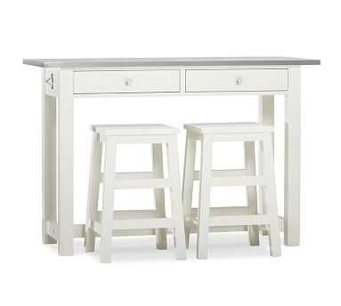 BALBOA WOOD & STAINLESS STEEL COUNTER-HEIGHT TABLE W/ 2 STOOLS, WHITE - Pottery Barn