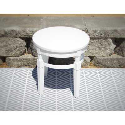 Elegant Hardwood Porch Round Side Table- Weathered Charcoal - Wayfair