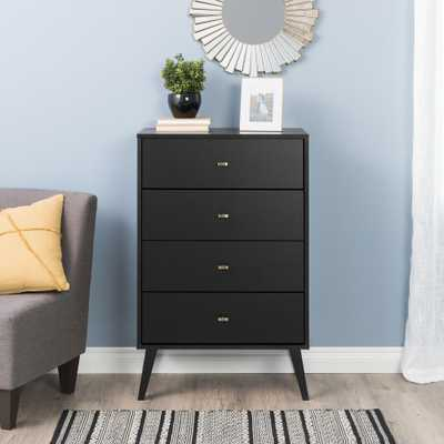 Prepac 4-Drawer Black Milo Mid Century Modern Chest - Home Depot