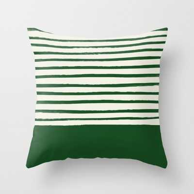 "Holiday x Green Stripes Throw Pillow - Indoor Cover (16"" x 16"") with pillow insert by Floresimagespdx - Society6"