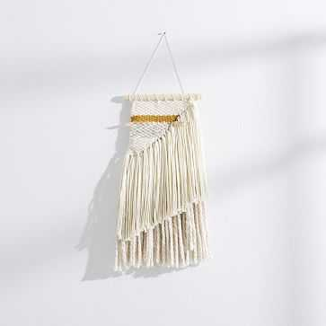 Sun Woven Wall Hanging, Small, Ivory/Mustard/Gold - West Elm