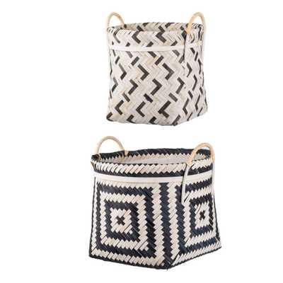 A & B Home Organic Elements Geometric Baskets Black/White(Set of 2), White/ Black - Home Depot