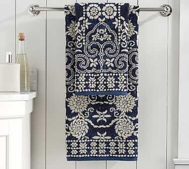 Indah Jacquard Bath Towels, Dark Blue - Pottery Barn