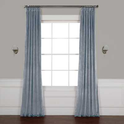 Exclusive Fabrics & Furnishings Denmark Blue Heritage Plush Velvet Curtain - 50 in. W x 108 in. L - Home Depot