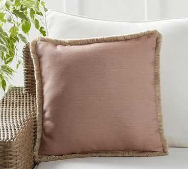 "Outdoor Sunbrella Salmon Solid Pillow, 18"", Salmon - Pottery Barn"