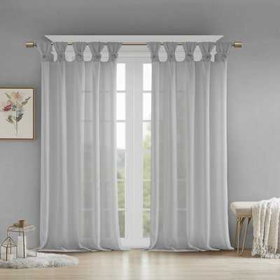 Mysliwiec Floral Twist Solid Semi-Sheer Tab Top Single Curtain Panel - Birch Lane