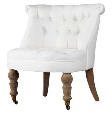Amelie French White Linen Tufted Accent Chair - Kathy Kuo Home