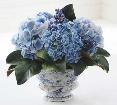 Faux Hydrangea and Blueberry in Ceramic Pot - Pottery Barn