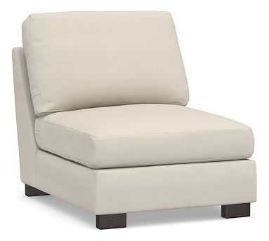 Turner Square Arm Upholstered Armless Chair without Nailheads, Down Blend Wrapped Cushions, Performance Brushed Basketweave Oatmeal - Pottery Barn