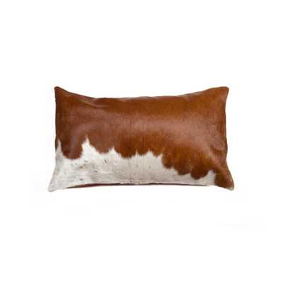 Lifestyle Group Torino Brown and White 12 in. x 20 in. Cowhide Pillow, Brown & White - Home Depot