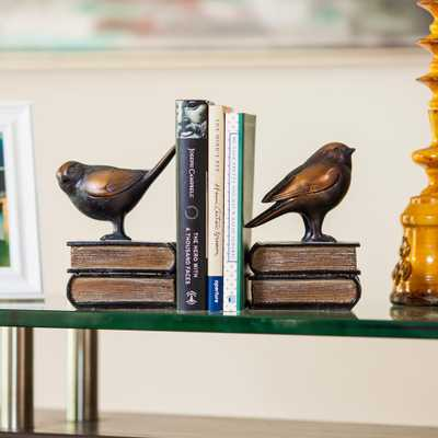 Savvy Bronze Patina Birds on Books Bookends (Set of 2) - Home Depot