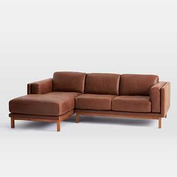 Dekalb Sectional, Right Arm Loveseat, Left Arm Chaise, Leather, Molasses, Pecan Legs - West Elm