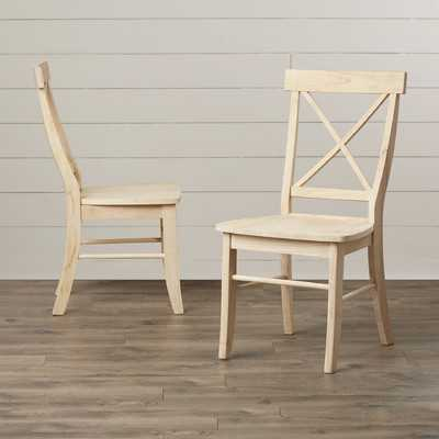 Sawyer Cross Back Solid Wood Dining Chair (Set of 2) - Wayfair