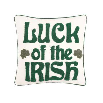 18 in. x 18 in. Luck of the Irish Pillow, Green - Home Depot