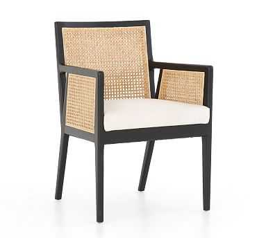 Lisbon Cane Dining Armchair, Brushed Ebony - Pottery Barn