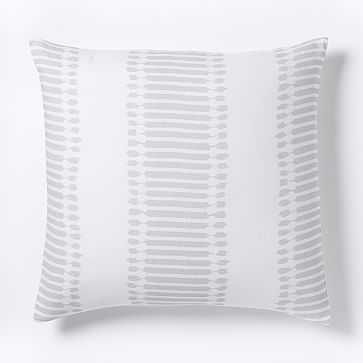 Belgian Flax Linen Ikat Stripe Euro Sham, Frost Gray - West Elm