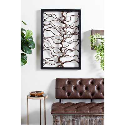 Litton Lane Large Rectangular Rustic Bauhinia and Teak Wood Wall Art, Brown - Home Depot