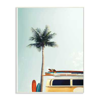 """The Stupell Home Decor Collection 12 in. x 18 in. """"Surf Bus Yellow With Palm Tree Photography"""" by Design Fabrikken Wood Wall Art, Multi-Colored - Home Depot"""