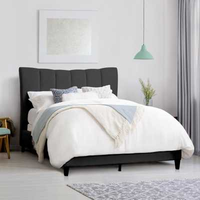 CorLiving Rosewell Dark Grey Fabric Vertical Channel-Tufted King Bed Frame - Home Depot