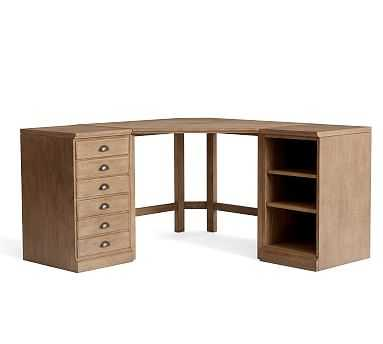 Printer's Corner Desk Set (1 3-Drawer File Ped, 1 Bookcase Ped, 1 Corner Desktop with Legs) - Pottery Barn