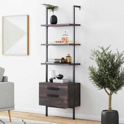 Moskowitz Open Shelf Industrial Ladder Bookcase - Wayfair