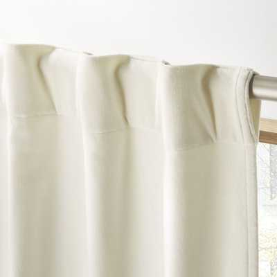 "Ivory Velvet Curtain Panel 48""x96"" - CB2"
